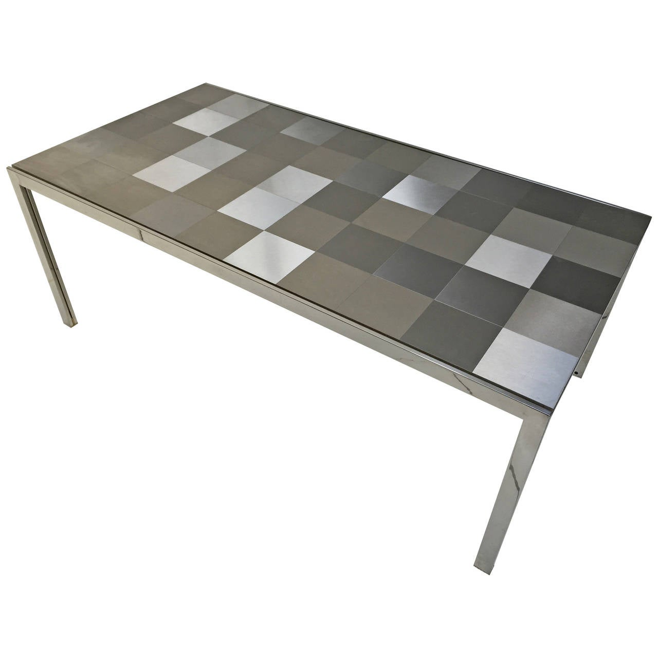 Stainless steel 39 luar 39 op art dining table by ross littell for Stainless steel dining table