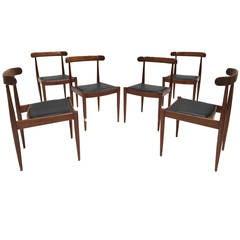 Set of Six Alfred Hendrickx Rosewood Dining Chairs Belform, Belgium, 1960s