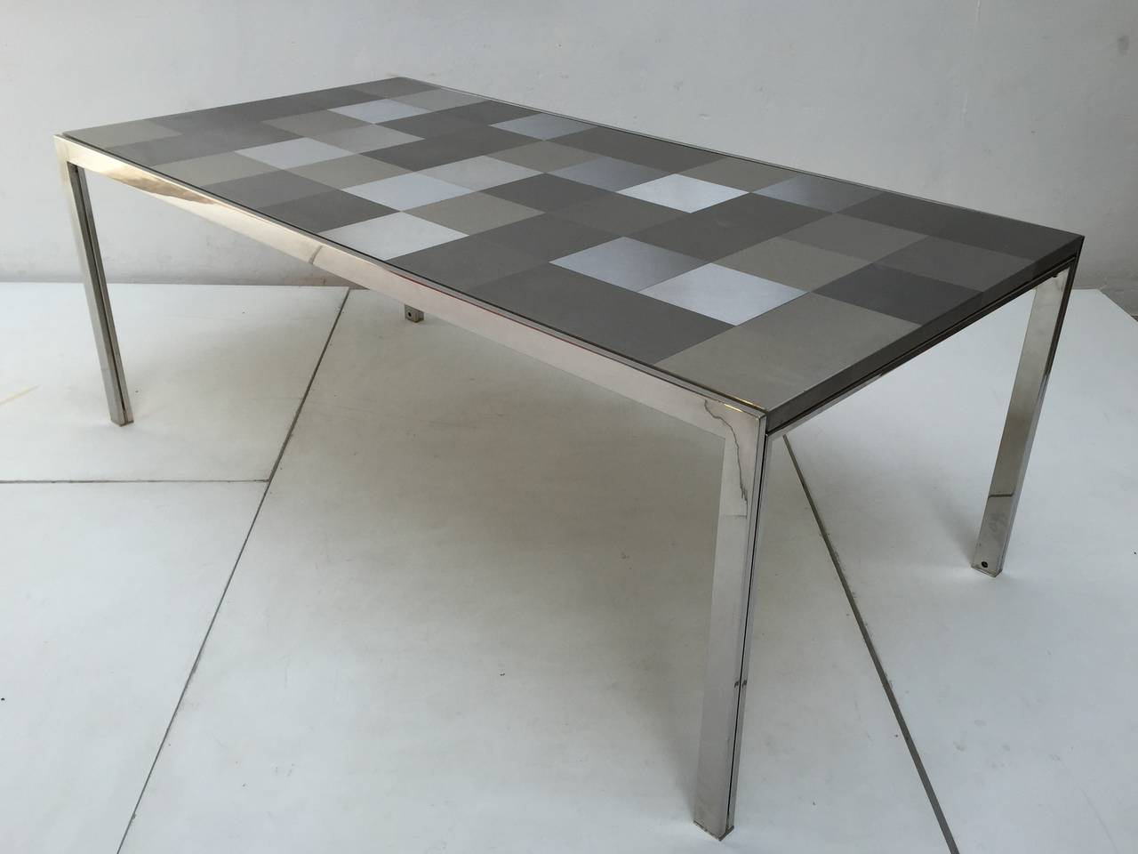 Brushed Stainless Steel 'Luar' Op Art Dining Table by Ross Littell for ICF For Sale