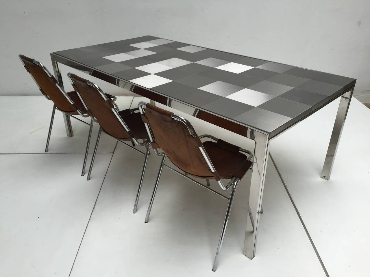 Italian Stainless Steel 'Luar' Op Art Dining Table by Ross Littell for ICF For Sale