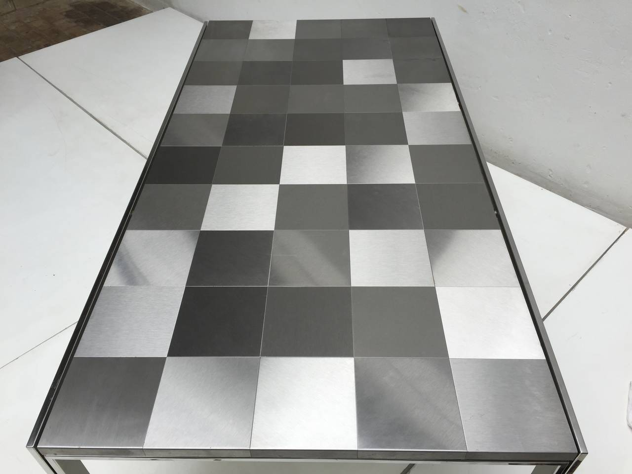 Late 20th Century Stainless Steel 'Luar' Op Art Dining Table by Ross Littell for ICF For Sale