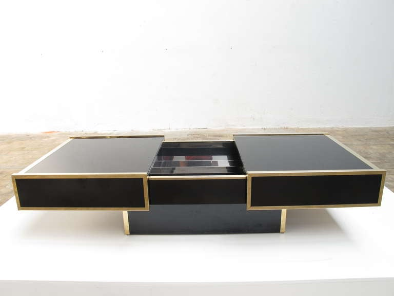 Superb  1975 Romeo Rega Table Glass Sliding Top With Internal Bar image 3