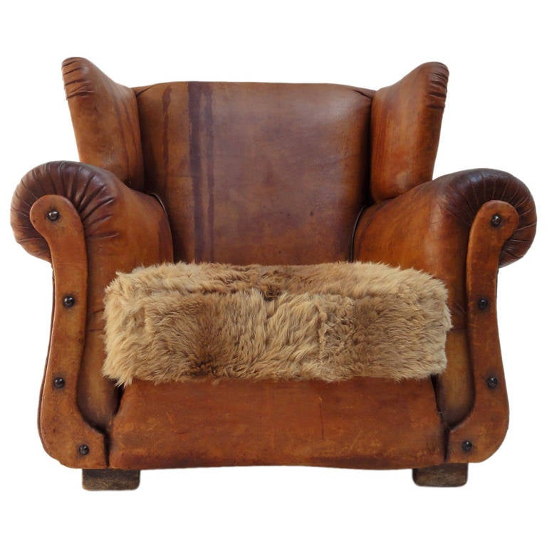 Beautiful Distressed Vintage Leather French Deco Wingback Chair with  Character For Sale - Beautiful Distressed Vintage Leather French Deco Wingback Chair With