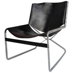 Rare Pierre Paulin Leather and Steel Lounge Chair for A. Polak Originals
