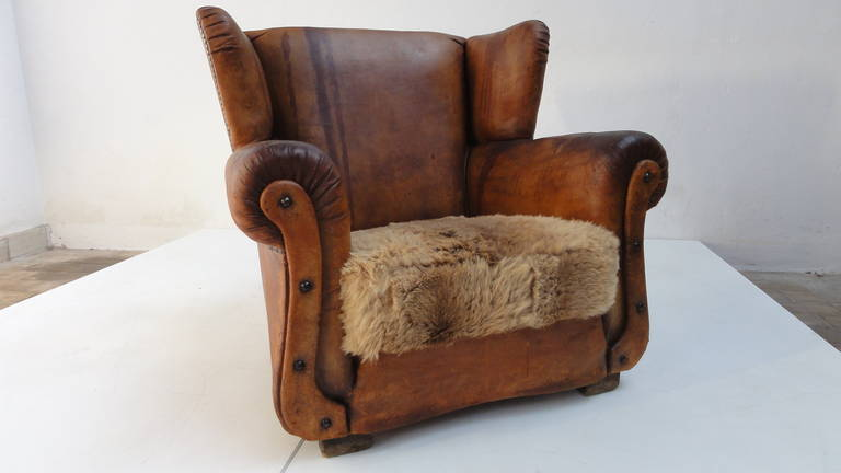 Beautiful Distressed Vintage Leather French Deco Wingback Chair With  Character 3