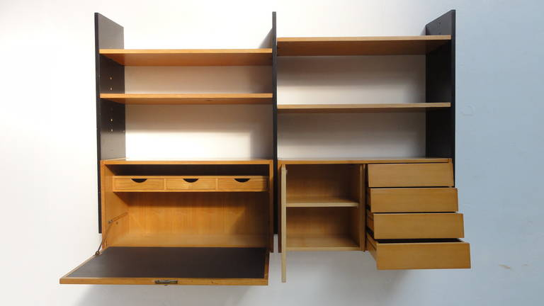 Scandinavian Mid Century Modern Modular Wall Mounted Desk Or Storage Unit  For Sale 1