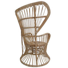Rattan Peacock Chair in the Style of Franco Albini and Gio Ponti