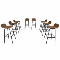 Set of Eight Wicker High Barstools by Dirk van Sliedrecht for Rohe Noordwolde