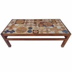 Ceramic and Brazilian Rosewood Coffee Table by Tue Poulsen for Haslev, Denmark