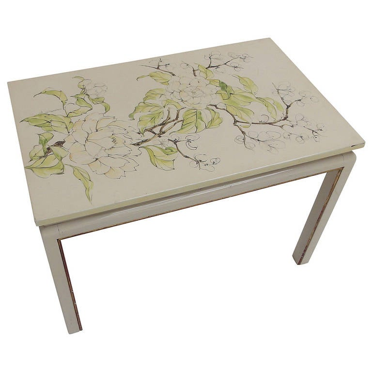 chinese lacquered coffee table with hand painted peony
