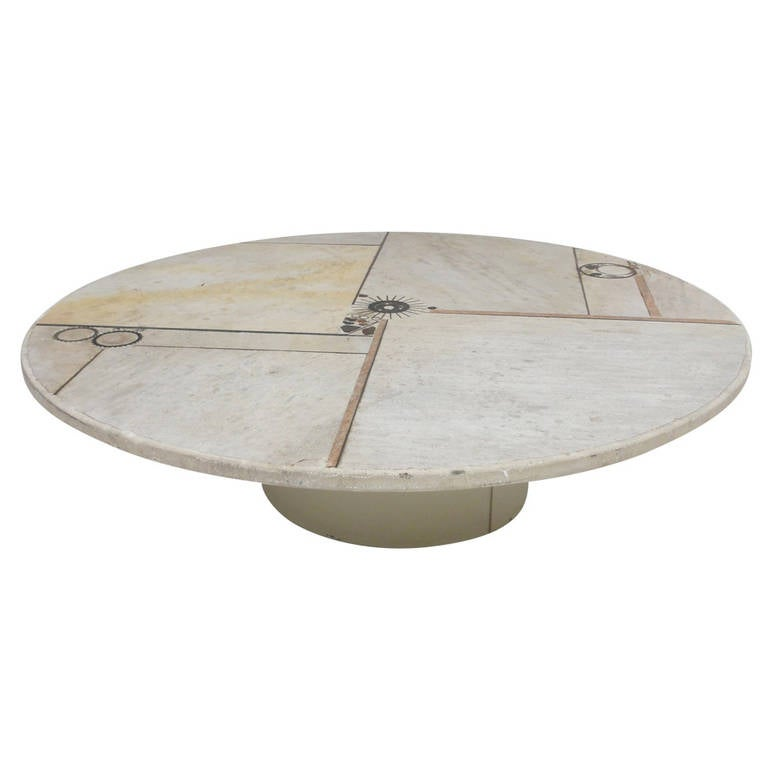 Stunning Brutalist White Slate And Brass By Paul Kingma Round Coffee Table At 1stdibs