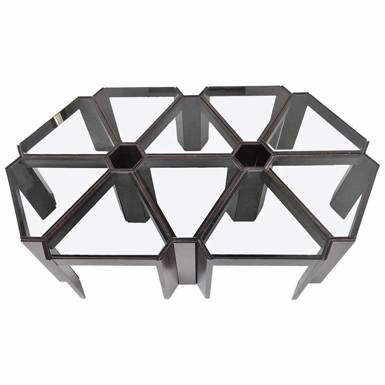 Amazing 1970s Geometric Modular Coffee Table or Display, Ten Pieces