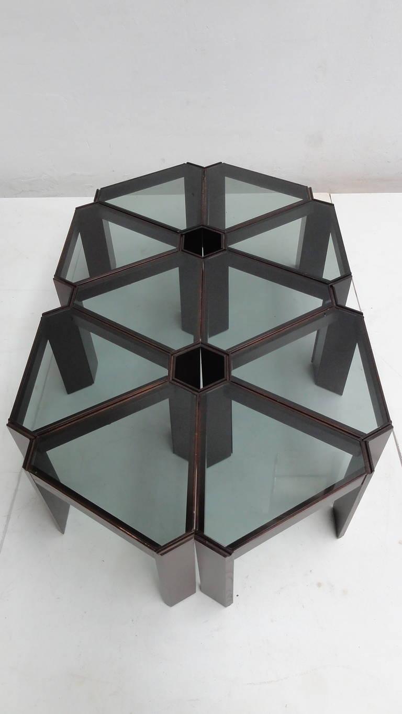 Amazing 1970s Geometric Modular Coffee Table or Display, Ten Pieces 2 - Amazing 1970s Geometric Modular Coffee Table Or Display, Ten