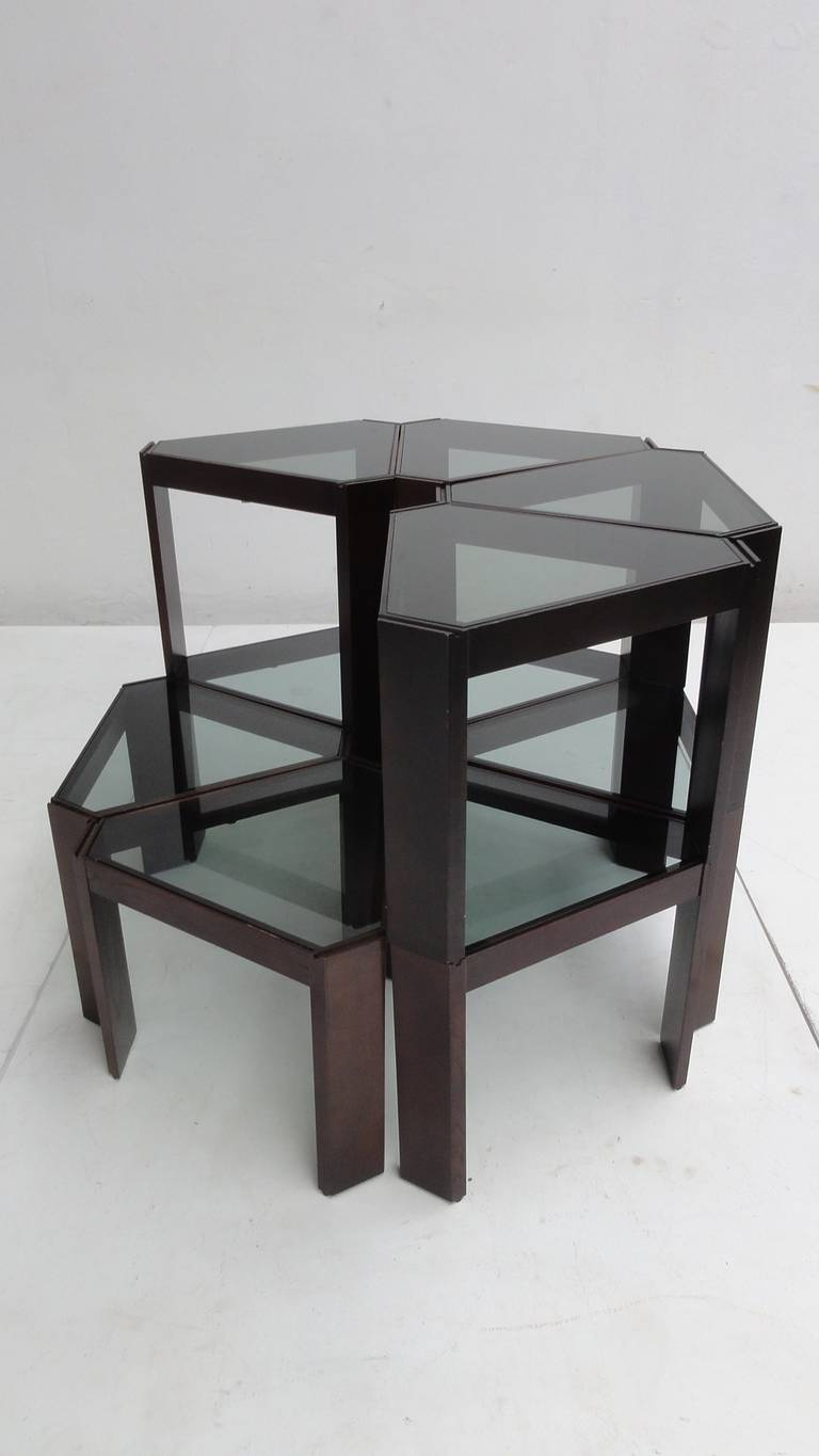Amazing 1970s Geometric Modular Coffee Table Or Display Ten Pieces For Sale At 1stdibs