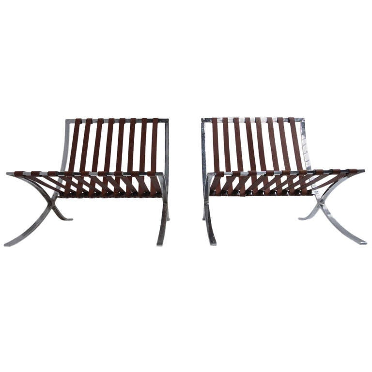 Very Rare Pair of 1947-1954 Production Mies van der Rohe ''Barcelona'' Chairs