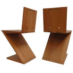 Gerrit Thomas Rietveld unique pair of Zig Zag Chairs G.A. v/d Groenekan