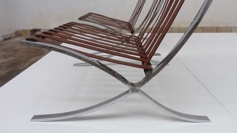Chrome Very Rare Pair of 1947-1954 Production Mies van der Rohe ''Barcelona'' Chairs For Sale