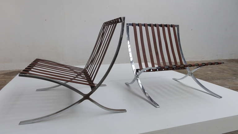 German Very Rare Pair of 1947-1954 Production Mies van der Rohe ''Barcelona'' Chairs For Sale