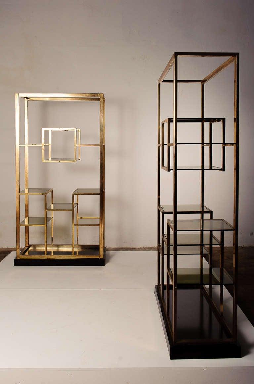 stunning pair of brass romeo rega etagere 1975 published. Black Bedroom Furniture Sets. Home Design Ideas