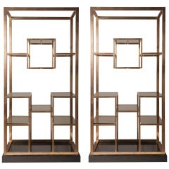 Stunning pair of  brass Romeo Rega etagere, 1975, published