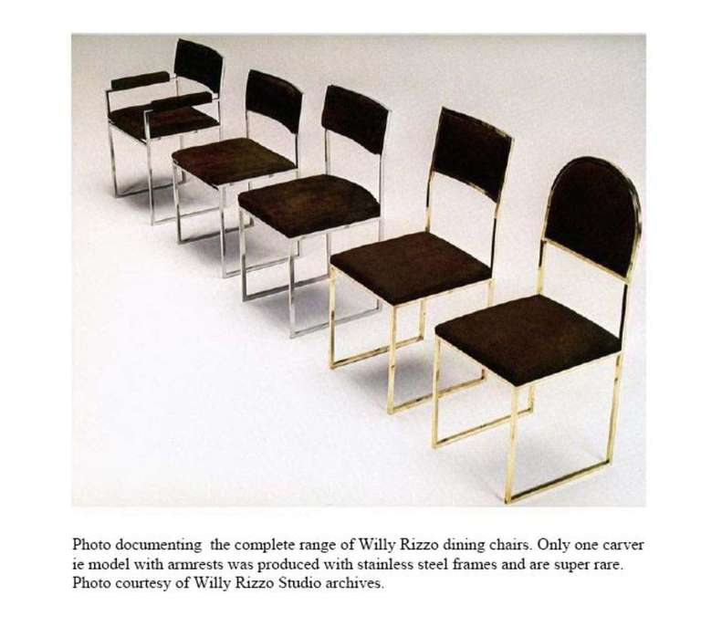 Exquisite Willy Rizzo dining set, signed and published in CASA VOGUE 10