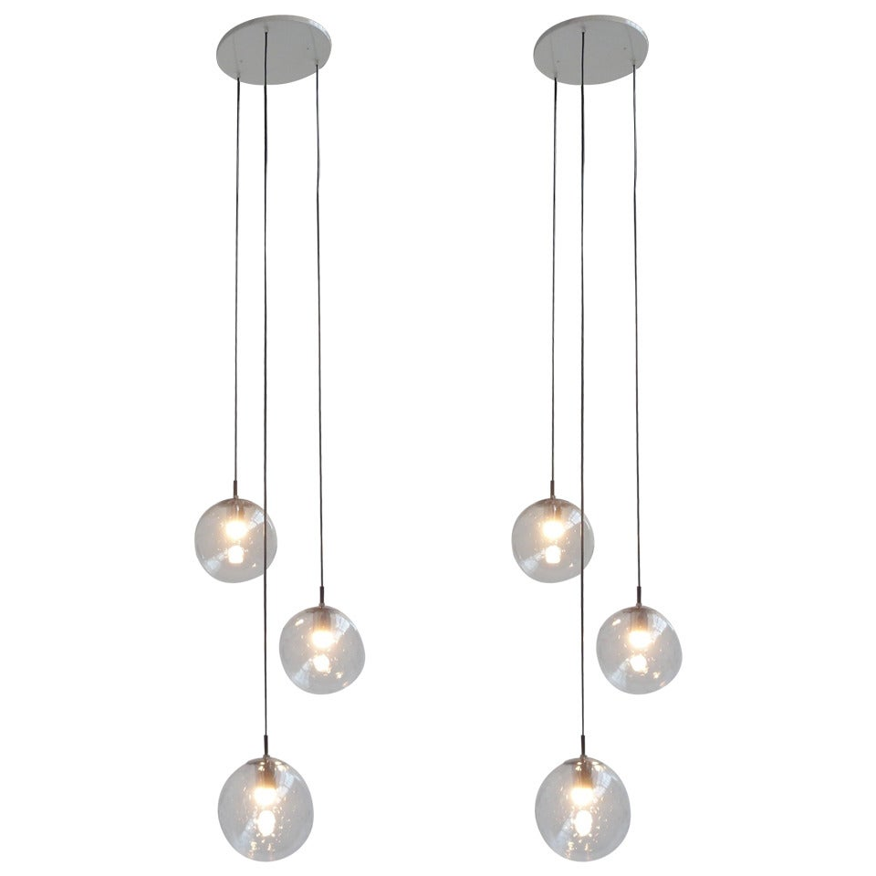Pair of Three Bubble Globe Chandelier by RAAK Lighting Architecture Amsterdam