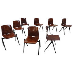 12 Galvanitas S22 Stackable and Linkable Compass Legged Chairs