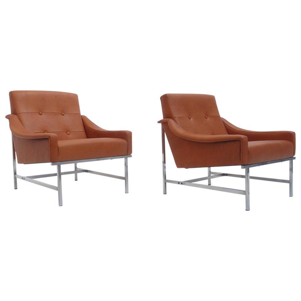 Fantastic Super Rare Pair Of Pieter De Bruyne Leather Lounge Chairs Arflex Italy 1960 Ibusinesslaw Wood Chair Design Ideas Ibusinesslaworg