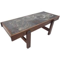 Custom Oak frame Belarti Ceramic coffee table 1970's