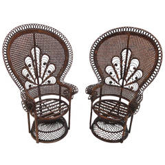"""pair of Iconic soft erotic """"Emmanuelle"""" 70's Rattan Peacock chairs"""