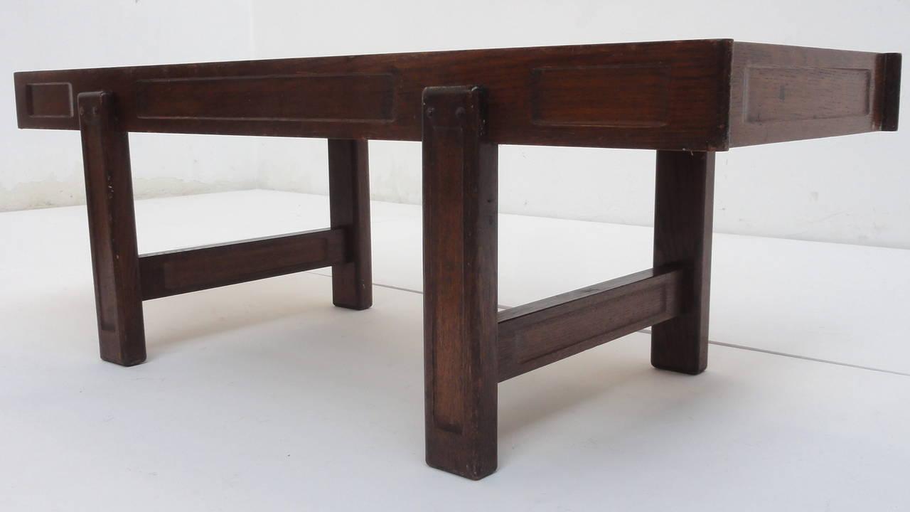 Custom Oak frame Belarti Ceramic coffee table 1970's 6
