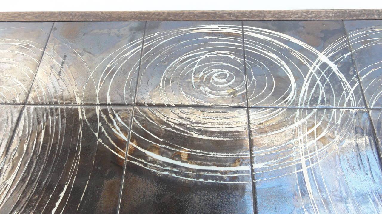 Custom Oak frame Belarti Ceramic coffee table 1970's 7