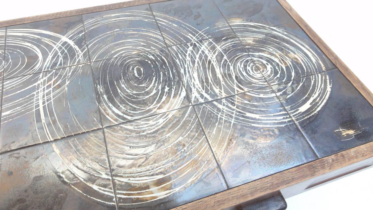 Custom Oak frame Belarti Ceramic coffee table 1970's 4