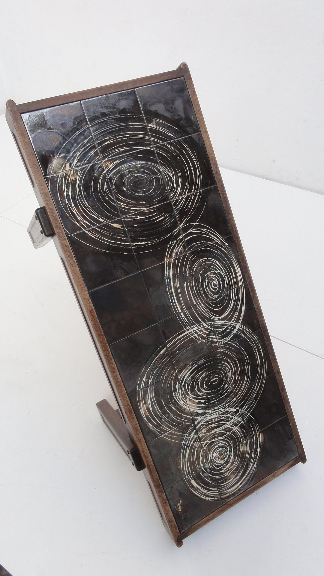 Custom Oak frame Belarti Ceramic coffee table 1970's 2