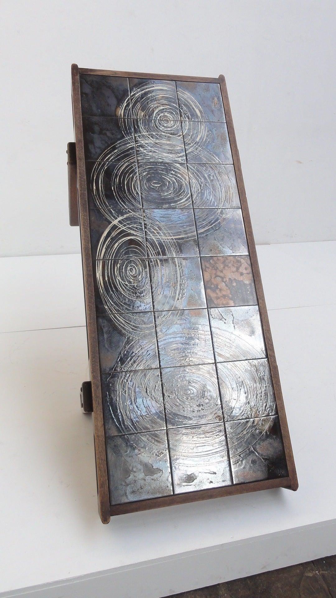 Custom Oak frame Belarti Ceramic coffee table 1970's 5
