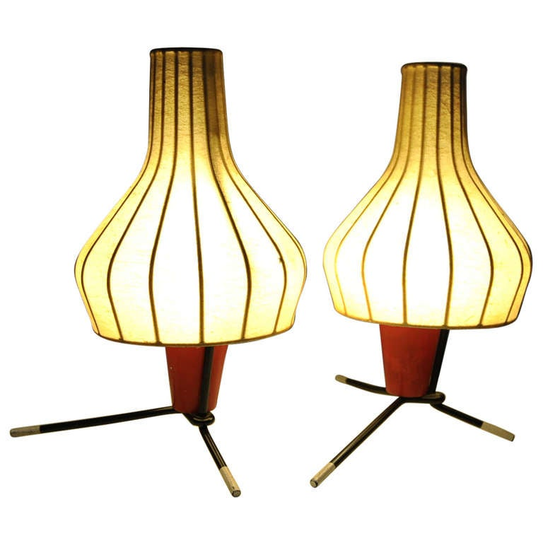 Pair of Swiss 1950's table lamps by BAG TURGI Switzerland