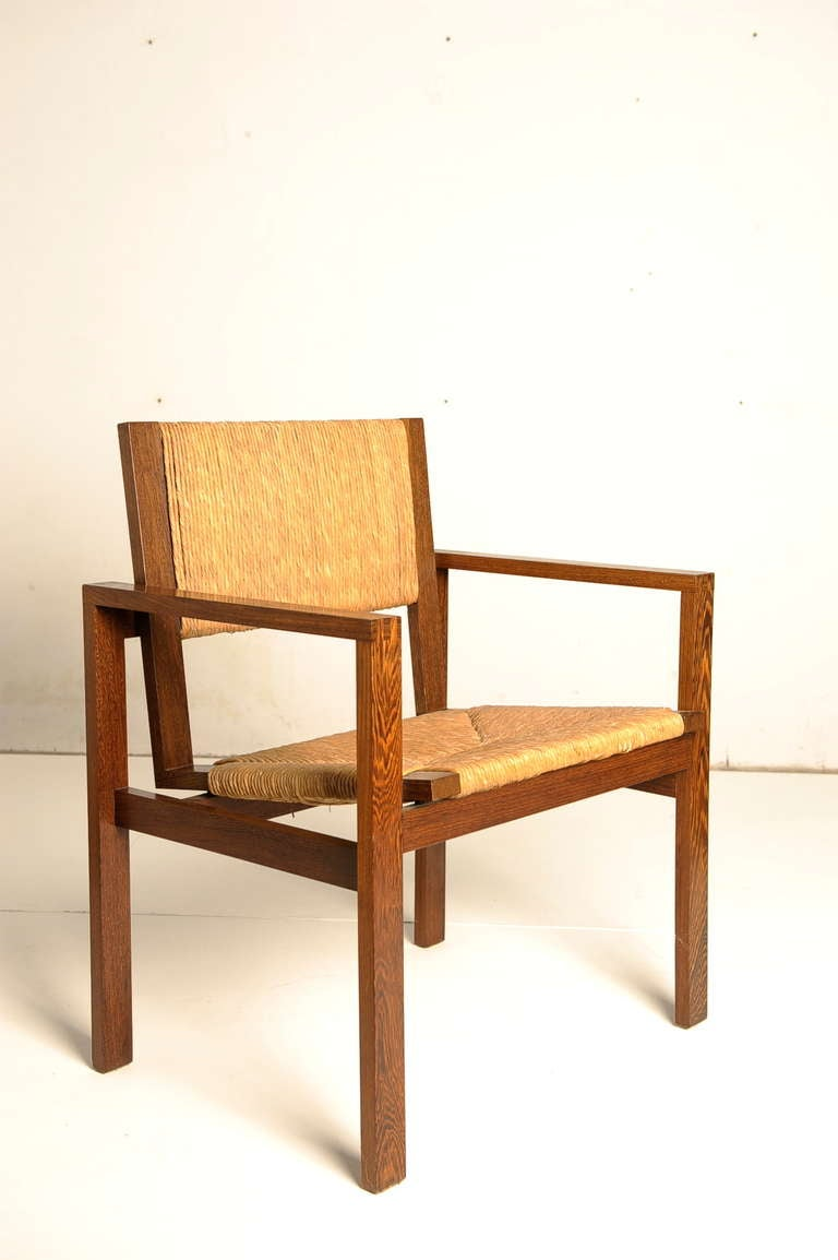Wenge And Rush Cord Chair By Hein Stolle For T Spectrum