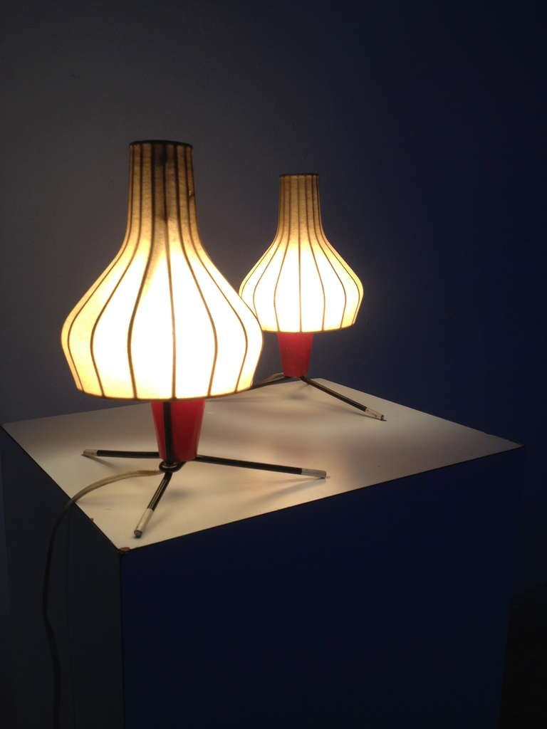 Pair of Swiss 1950's table lamps by BAG TURGI Switzerland For Sale 1