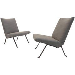 Pair of Rob Parry Easy Chairs for Gelderland, Netherlands, new foam & upholstery
