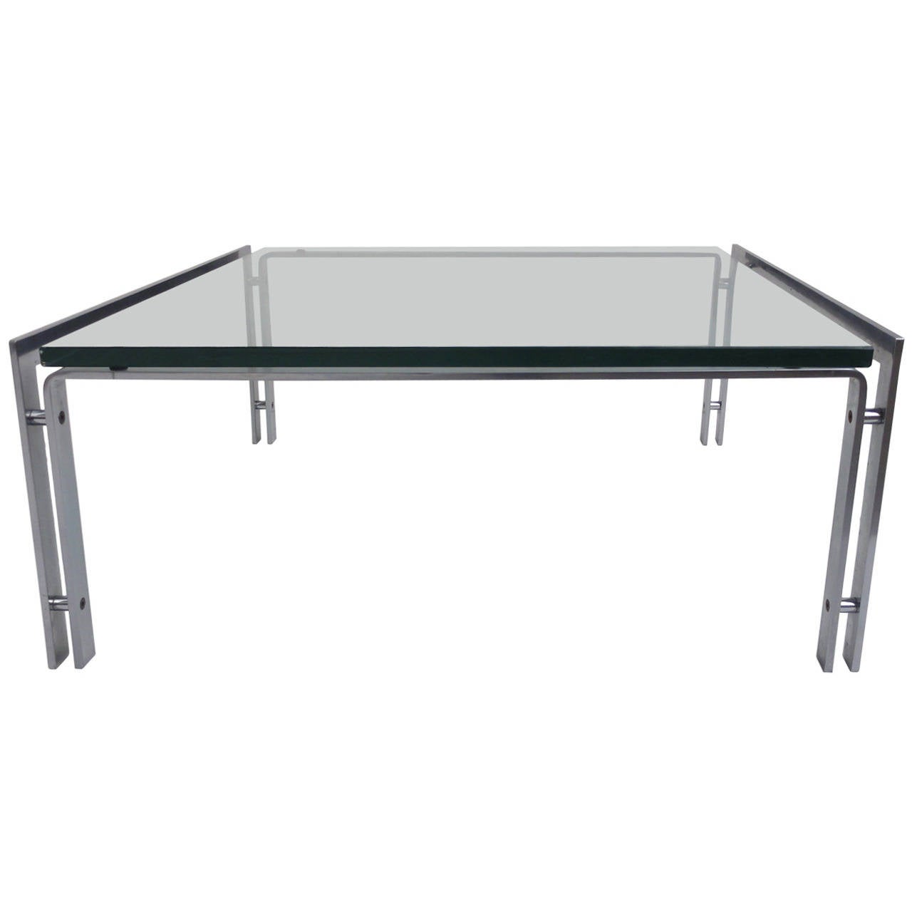 Dutch Metaform Steel And Glass Coffee Table In The Style Of Poul Kjaerholm For Sale At 1stdibs