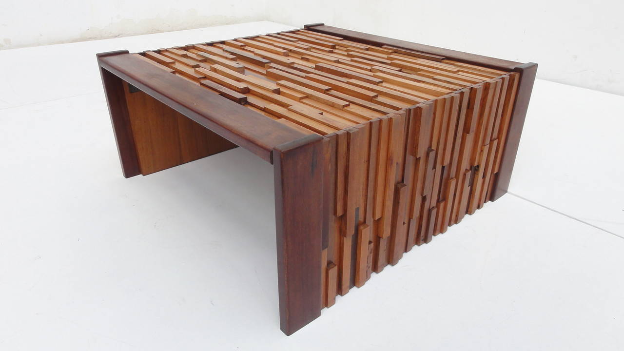 Brutalist Vintage 1960s Mixed Wood Coffee Table By Brazilian Designer Percival Lafer The Is
