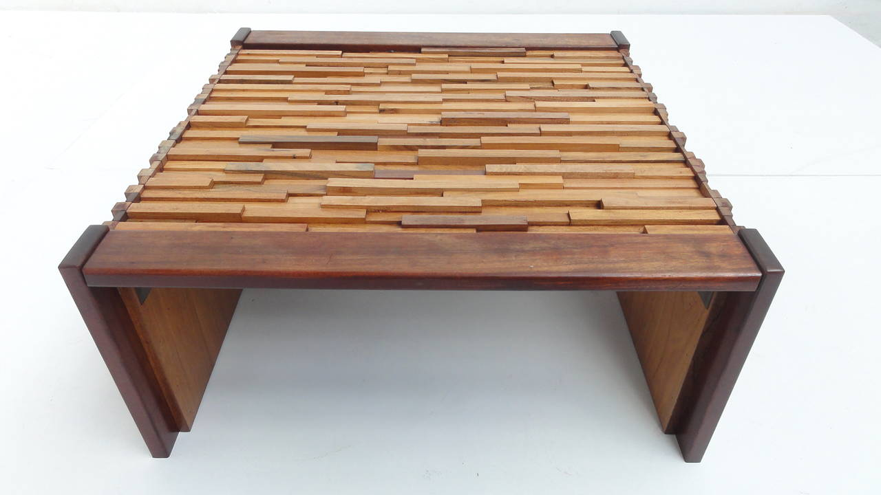 Brazilian Brutalist Mixed Tropical Wood Coffee Table By Percival Lafer For Mp At 1stdibs
