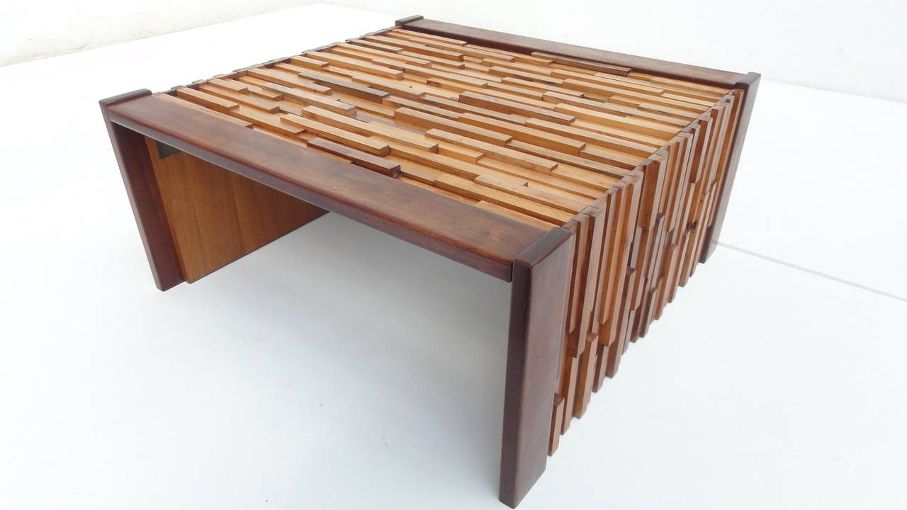 brazilian brutalist mixed tropical wood coffee table by percival lafer for mp at 1stdibs. Black Bedroom Furniture Sets. Home Design Ideas