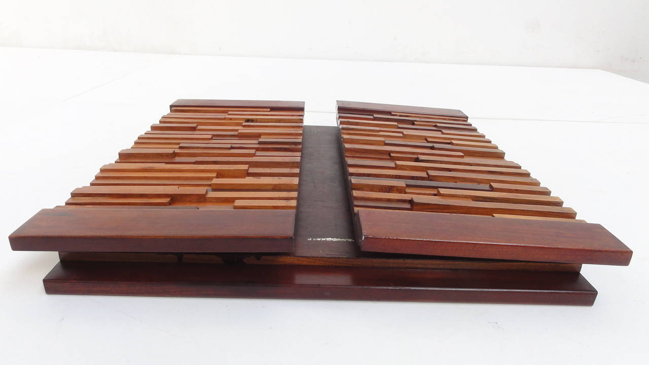 Brazilian Brutalist Mixed Tropical Wood Coffee Table By Percival Lafer