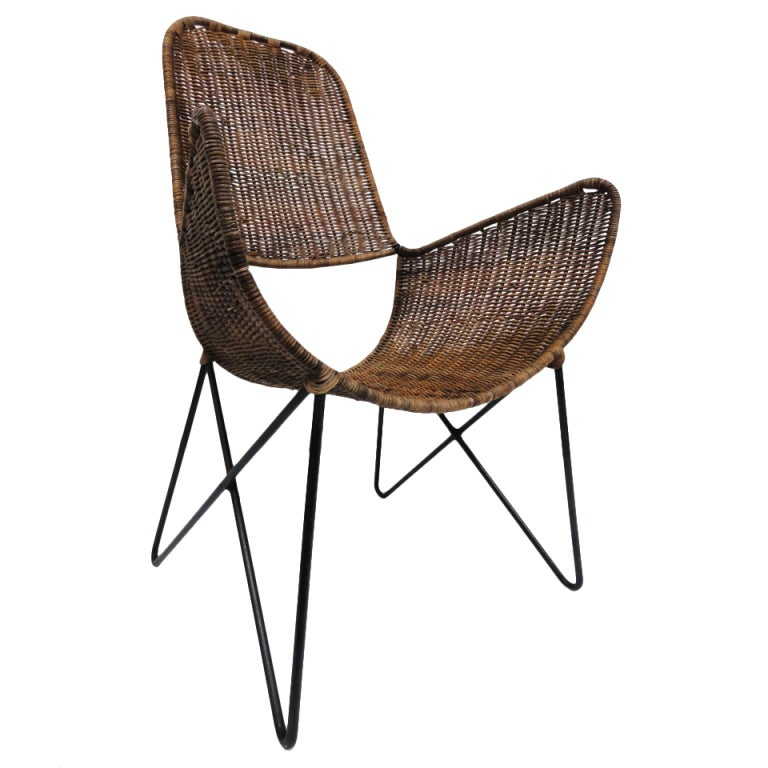 Raoul Guys wicker an wrought iron chair La Brouette Paris at 1stdibs