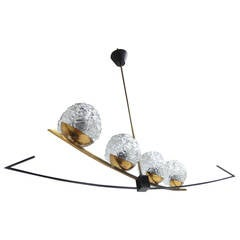 Beautiful 1950s Sculptural Form French Chandelier by Arlus or Lunel