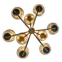1950's Italian glass & brass chandelier with 9 glass globes