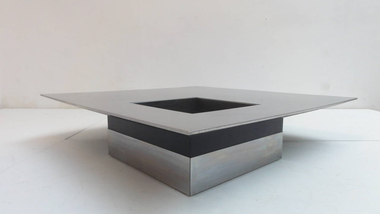 Stunning 1970s italian stainless 39 floating 39 coffee table for Table ultra basse