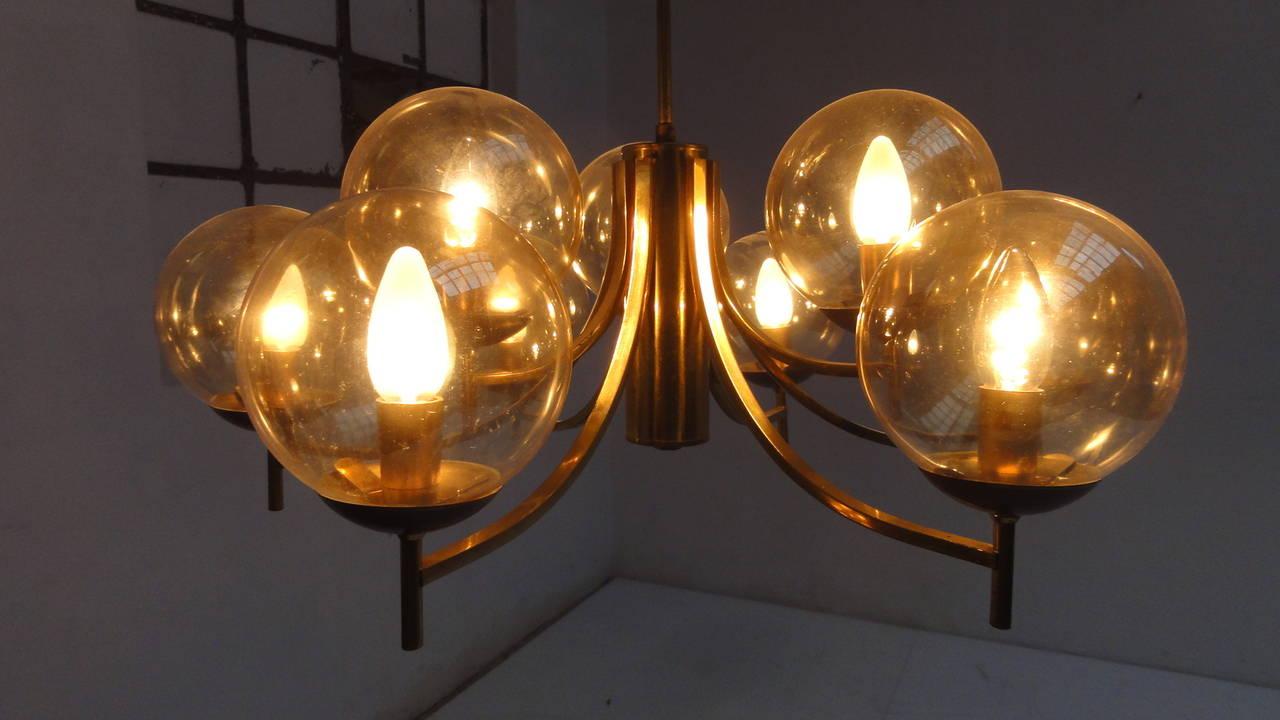 Brass 1950's Italian glass & brass chandelier with 9 glass globes For Sale