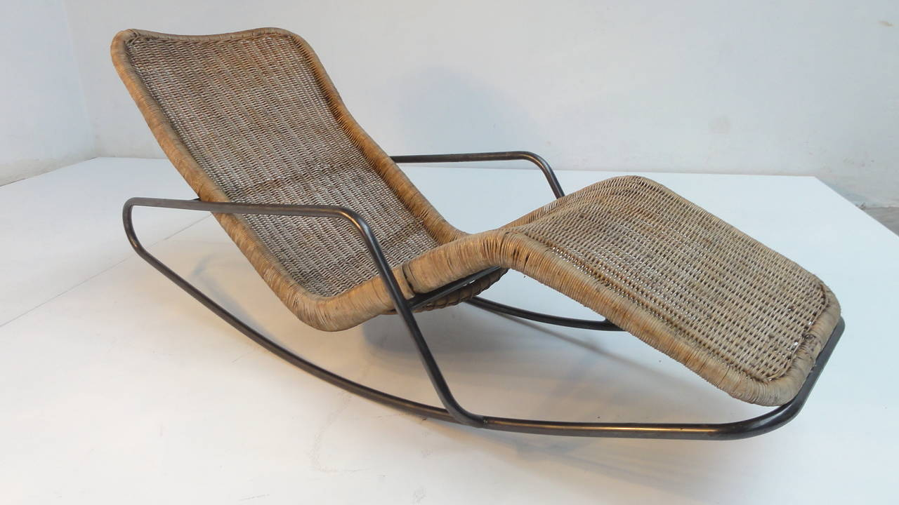 Modern outdoor rocking chairs - Rare 1950s Rocking Chaise Longues By Dirk Van Sliedrecht For Gebr Jonkers 2